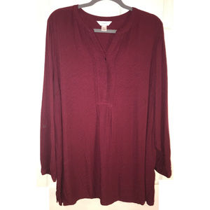 Burgundy Popover Tunic Top, Size 2X